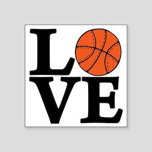 "black, Basketball LOVE Square Sticker 3"" x 3"""