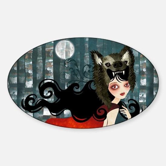 red_cafepress_bag Sticker (Oval)