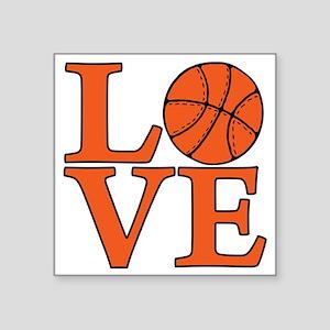 "orange, Basketball LOVE Square Sticker 3"" x 3"""