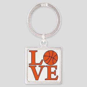 orange, Basketball LOVE Square Keychain