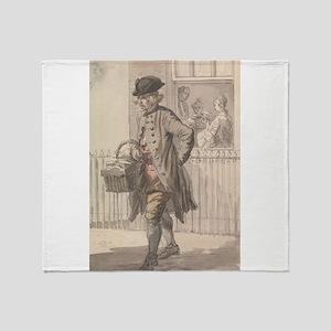 A Muffin Man - Paul Sandby - c1759 Throw Blanket