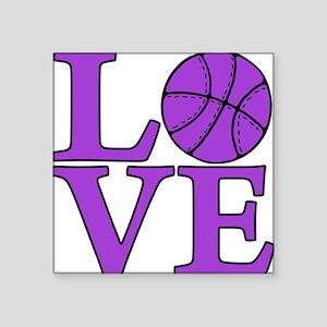 "purple, Basketball LOVE Square Sticker 3"" x 3"""