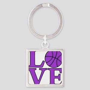 purple, Basketball LOVE Square Keychain