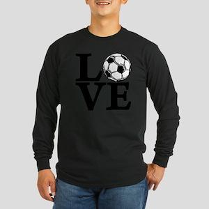 black, Soccer LOVE Long Sleeve Dark T-Shirt