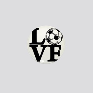 black, Soccer LOVE Mini Button