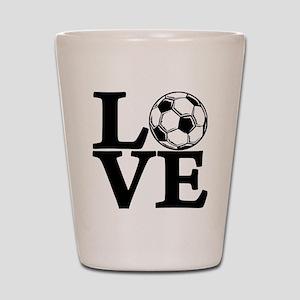 black, Soccer LOVE Shot Glass