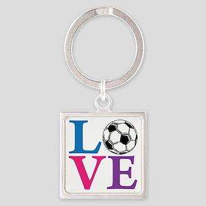 Multi2, Soccer LOVE Square Keychain