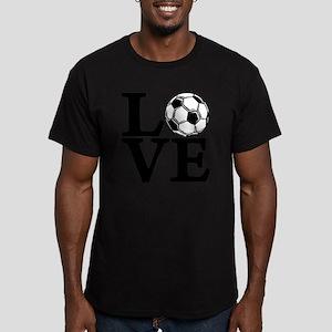 black, Soccer LOVE Men's Fitted T-Shirt (dark)