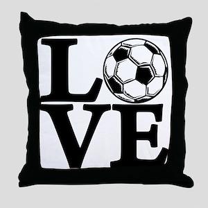black, Soccer LOVE Throw Pillow