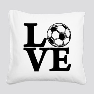 black, Soccer LOVE Square Canvas Pillow