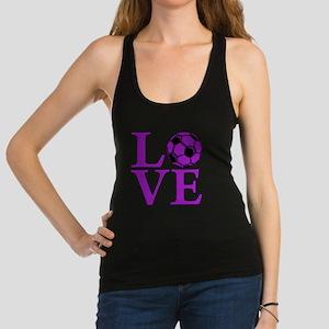 purple, Soccer LOVE Racerback Tank Top