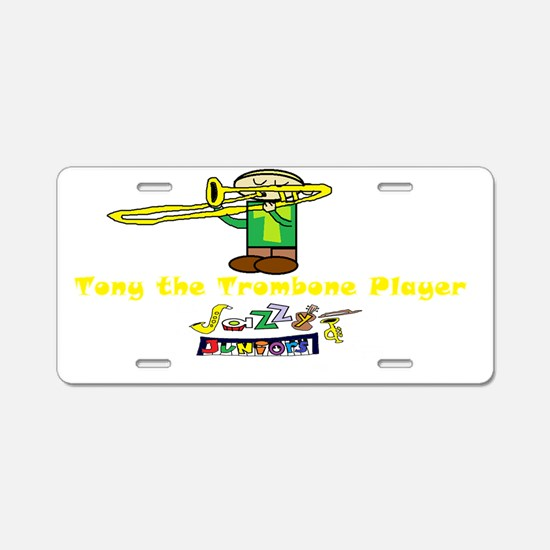tony the trombone player-tr Aluminum License Plate