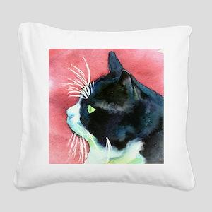 Tuxedo Cat Profile Square Canvas Pillow