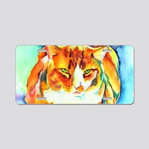 Orange Tiger Cat Aluminum License Plate