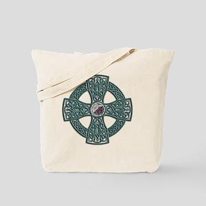 Green Irish Stone Celtic Cross Tote Bag