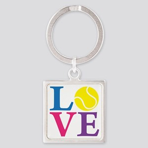multi2, Tennis LOVE Square Keychain
