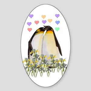 Penguin Love Oval Sticker