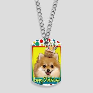 BirthdayCupcakePomeranian Dog Tags