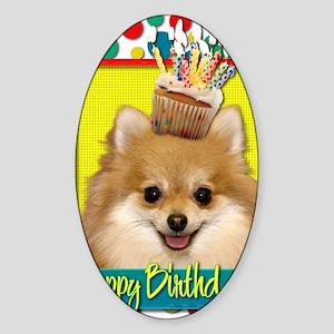 BirthdayCupcakePomeranian Sticker (Oval)
