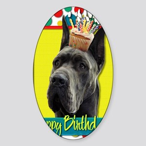 BirthdayCupcakeGreatDaneGrey Sticker (Oval)