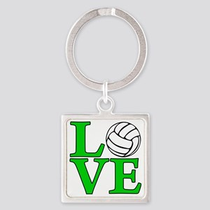 green, Volleyball LOVE Square Keychain