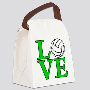 green, Volleyball LOVE Canvas Lunch Bag