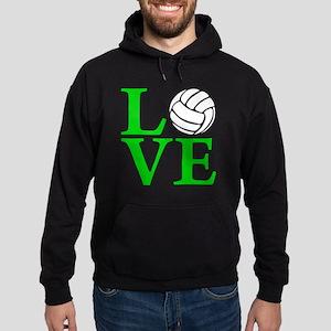 green, Volleyball LOVE Hoodie (dark)