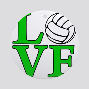 green, Volleyball LOVE Round Ornament
