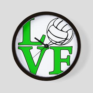 green, Volleyball LOVE Wall Clock