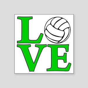 "green, Volleyball LOVE Square Sticker 3"" x 3"""