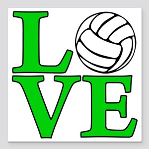 "green, Volleyball LOVE Square Car Magnet 3"" x 3"""