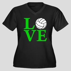 green, Volle Women's Plus Size Dark V-Neck T-Shirt