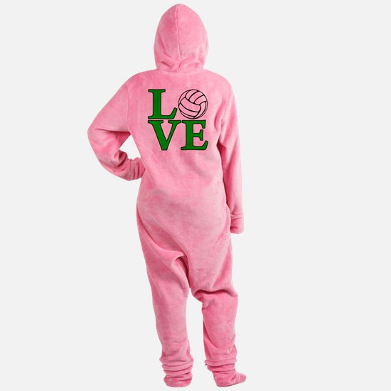 green, Volleyball LOVE Footed Pajamas