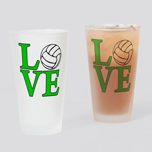 green, Volleyball LOVE Drinking Glass