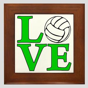 green, Volleyball LOVE Framed Tile