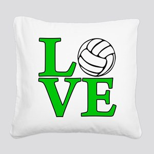 green, Volleyball LOVE Square Canvas Pillow