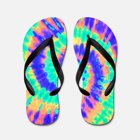TieDyeColorful2 Flip Flops