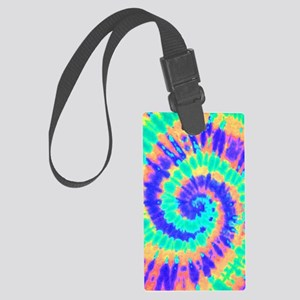 TieDyeColorful2 Large Luggage Tag