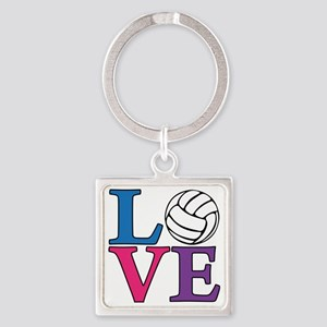 multi, Volleyball LOVE Square Keychain