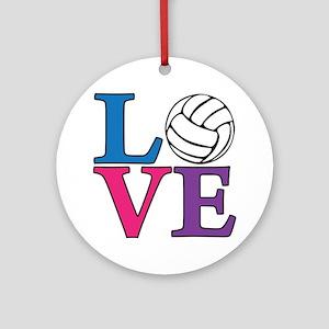 multi, Volleyball LOVE Round Ornament