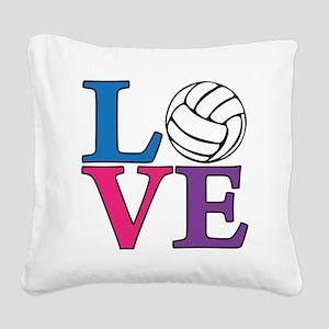 multi, Volleyball LOVE Square Canvas Pillow