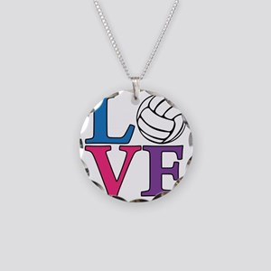 multi, Volleyball LOVE Necklace Circle Charm