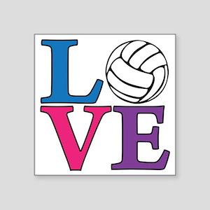 """multi, Volleyball LOVE Square Sticker 3"""" x 3"""""""