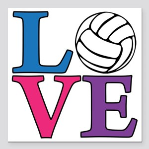 "multi, Volleyball LOVE Square Car Magnet 3"" x 3"""