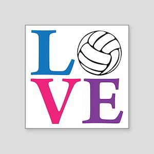 """multi2, Volleyball LOVE Square Sticker 3"""" x 3"""""""