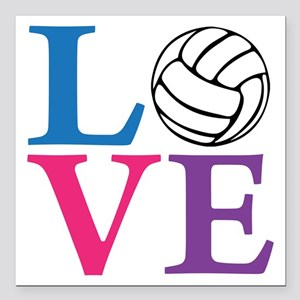 "multi2, Volleyball LOVE Square Car Magnet 3"" x 3"""