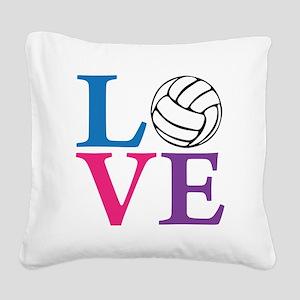 multi2, Volleyball LOVE Square Canvas Pillow