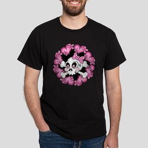 Cute Skull and Hearts Dark T-Shirt
