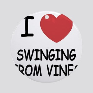 SWINGING_FROM_VINES Round Ornament