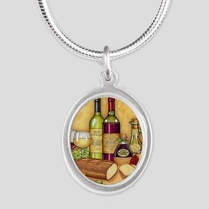 Wine Best Seller Silver Oval Necklace